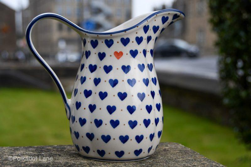 Small Hearts Pattern Medium Size Jug by Ceramika Artystyczna Polish Pottery
