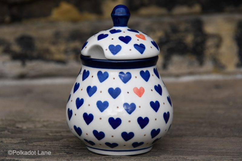 Small Hearts Pattern Sugar Bowl by Ceramika Artystyczna Polish Pottery