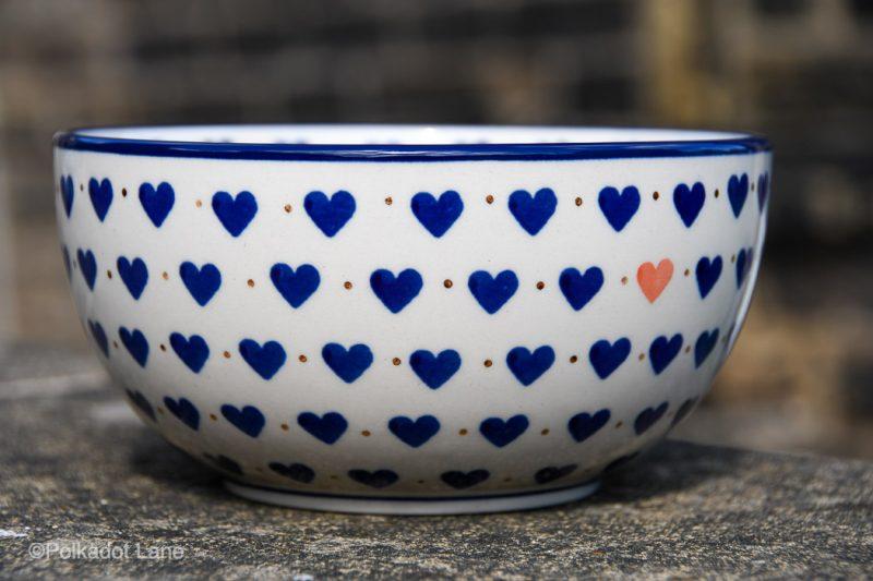 Polish pottery Small Hearts Pattern Large Cereal Bowl by Ceramika Artystyczna