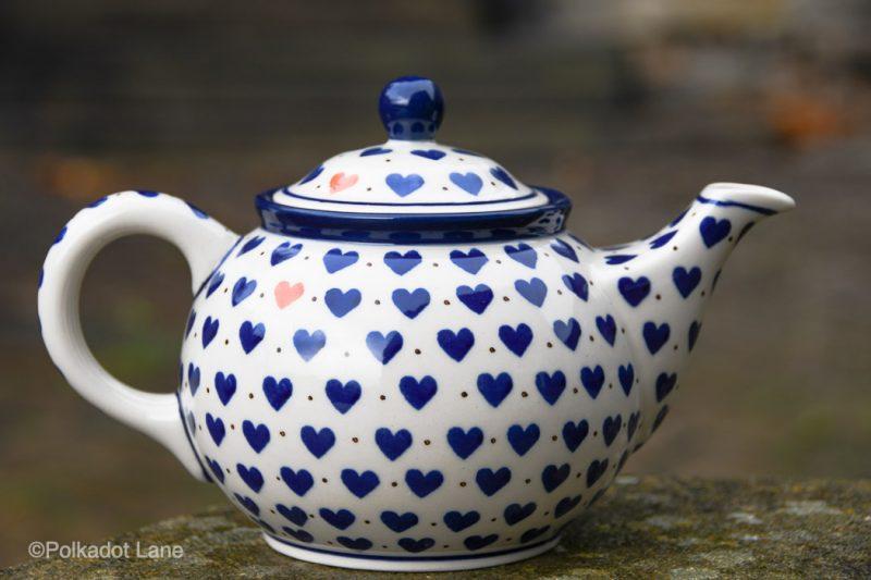 Small Hearts Pattern Polish Pottery Teapot for Two by Ceramika Artystyczna
