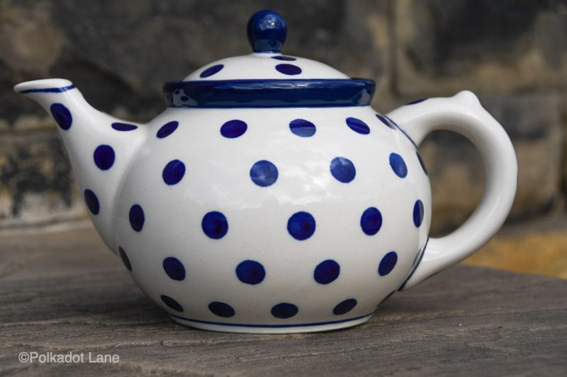 Polish Pottery Teapot for Four Persons Blue Spots on White from Polkadot Lane UK