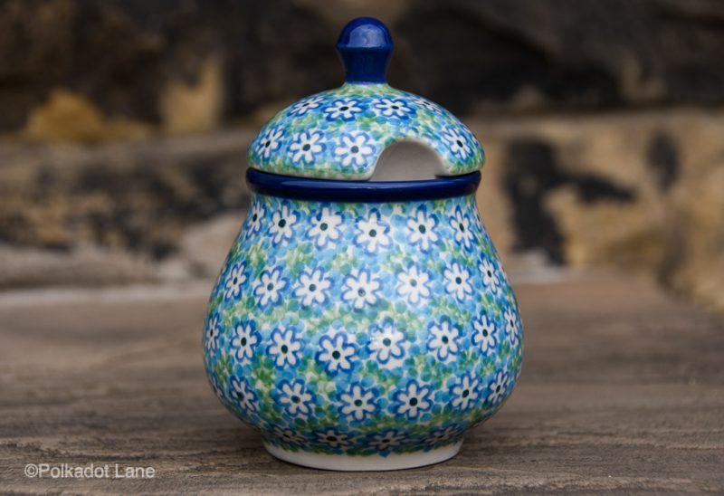 Turquoise Daisy Pattern Sugar Bowl by Ceramika Artystyczna